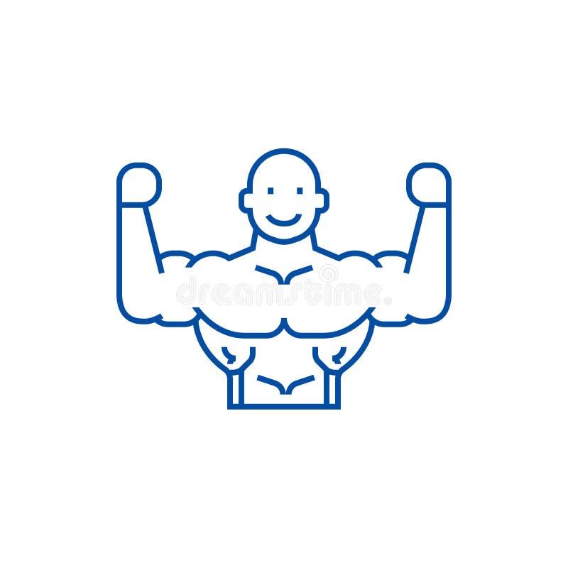 Bodybuilder ikony kreskowy pojęcie Bodybuilder płaski wektorowy symbol, znak, kontur ilustracja ilustracja wektor