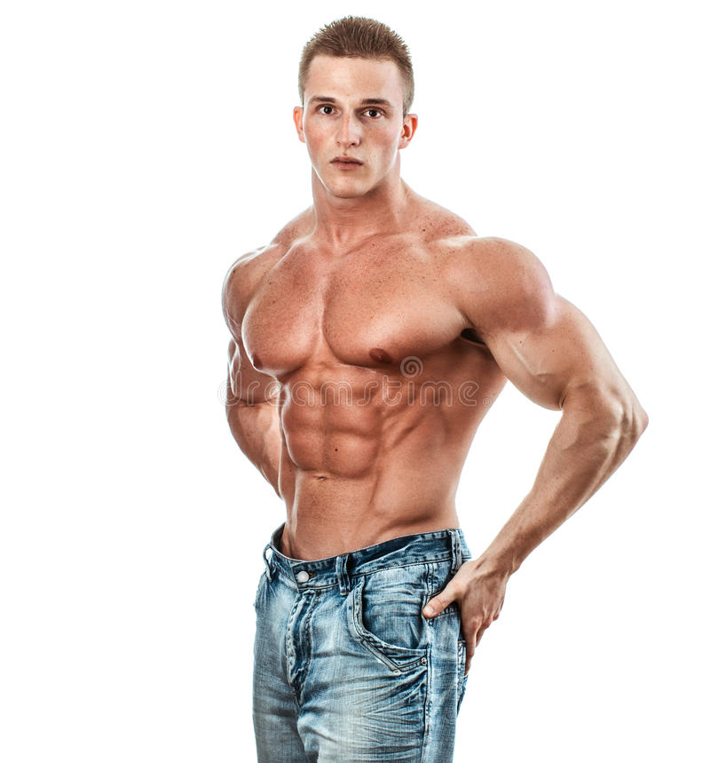 Bodybuilder. Isolated on white. Muscle man with perfect body stock photo