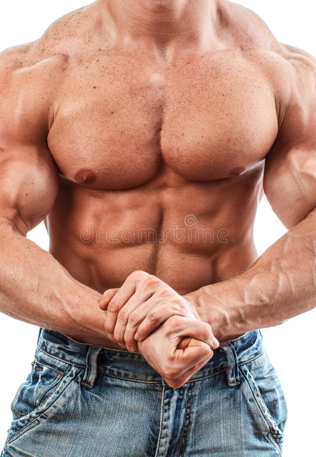 Bodybuilder. Isolated on white. Muscle man with perfect body royalty free stock photos