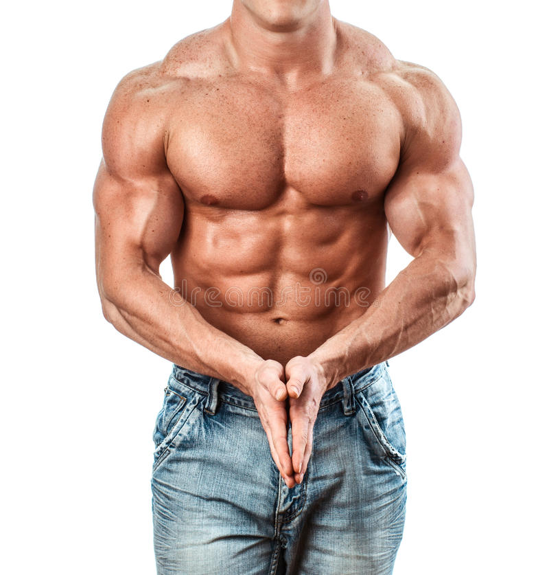 Bodybuilder. Isolated on white. Muscle man with perfect body royalty free stock images