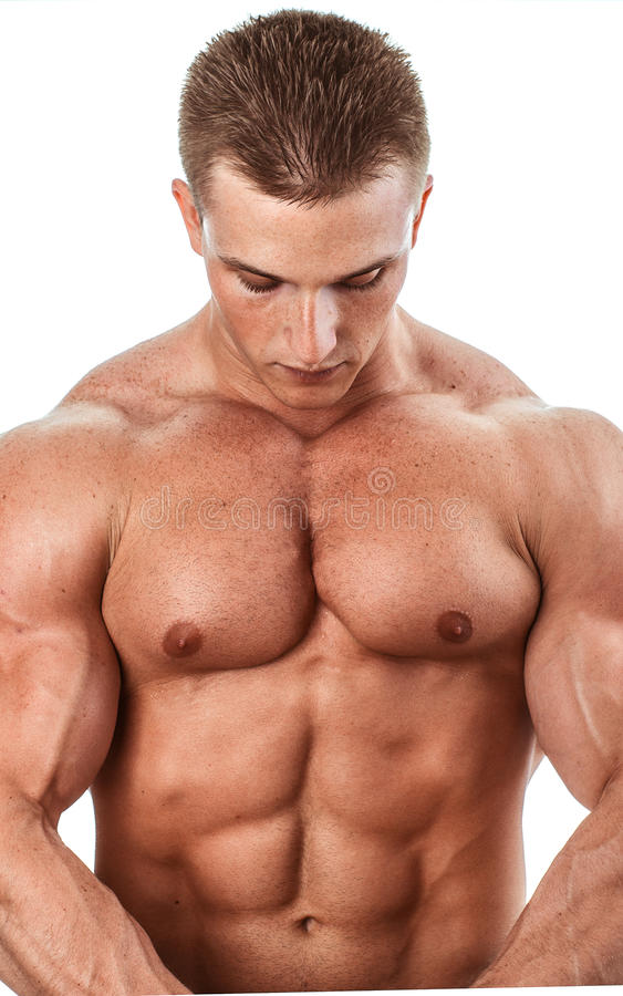 Bodybuilder isolated on white. Muscle man with perfect body royalty free stock photography