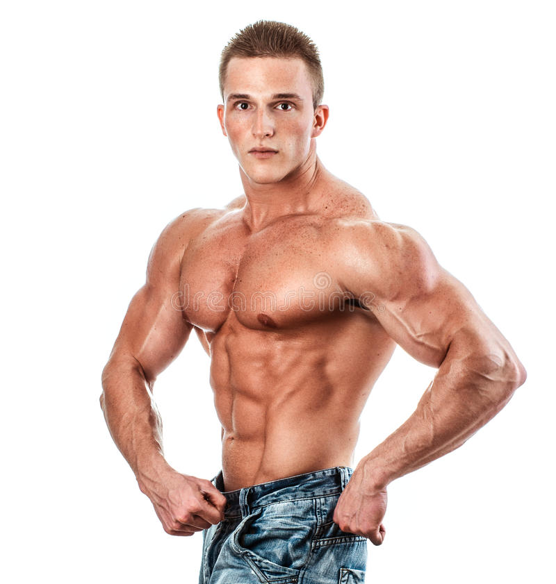 Bodybuilder isolated on white. Muscle man with perfect body stock photos