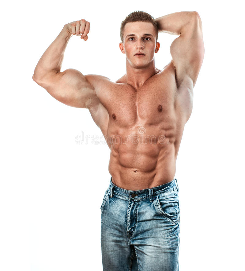 Bodybuilder. Isolated on white. Muscle man with perfectly biceps stock photography