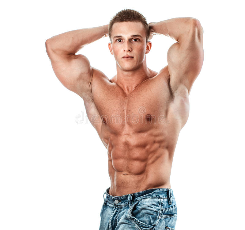 Bodybuilder. Isolated on white. Muscle man with perfectly torso stock photography