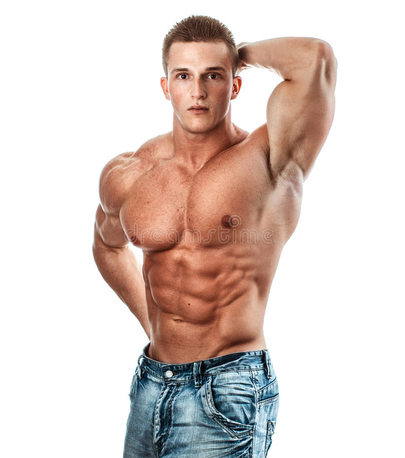 Bodybuilder isolated on white. Muscle man with perfectly torso stock photos
