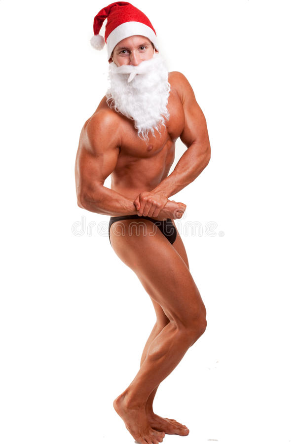 Bodybuilder le père noël photo stock