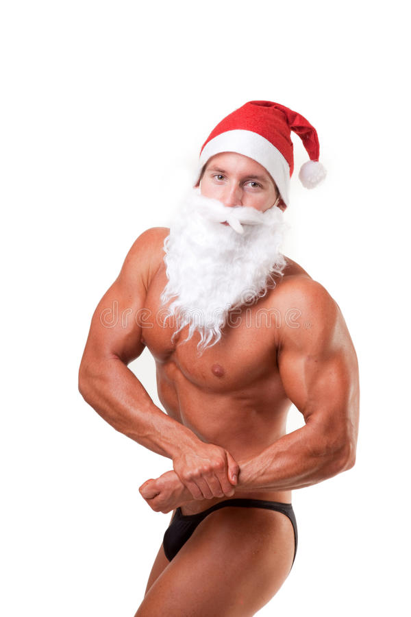Bodybuilder le père noël photos libres de droits