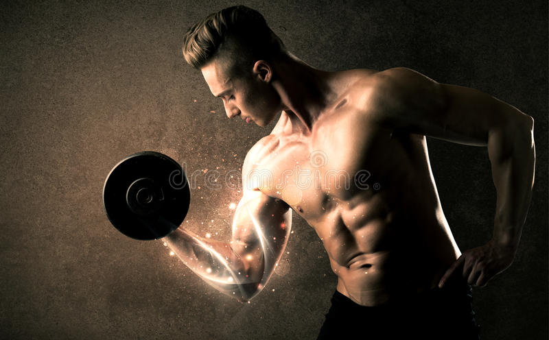 Bodybuilder lifting weight with energetic white lines concept royalty free stock images