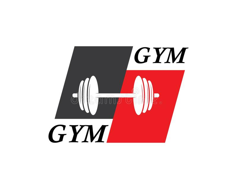 Bodybuilder Logo Template Dirigez l'objet et les icônes pour le label de sport, insigne de gymnase, logo de forme physique illustration stock