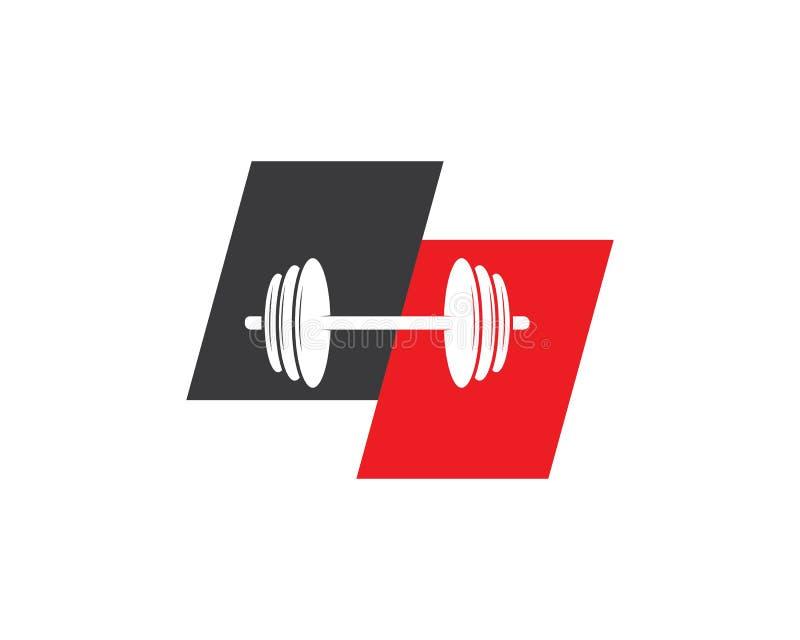 Bodybuilder Logo Template Dirigez l'objet et les icônes pour le label de sport, insigne de gymnase, logo de forme physique illustration de vecteur