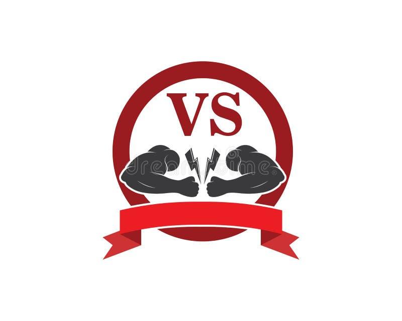 Bodybuilder Logo Template Dirigez l'objet et les icônes pour le label de sport, insigne de gymnase, logo de forme physique illustration libre de droits