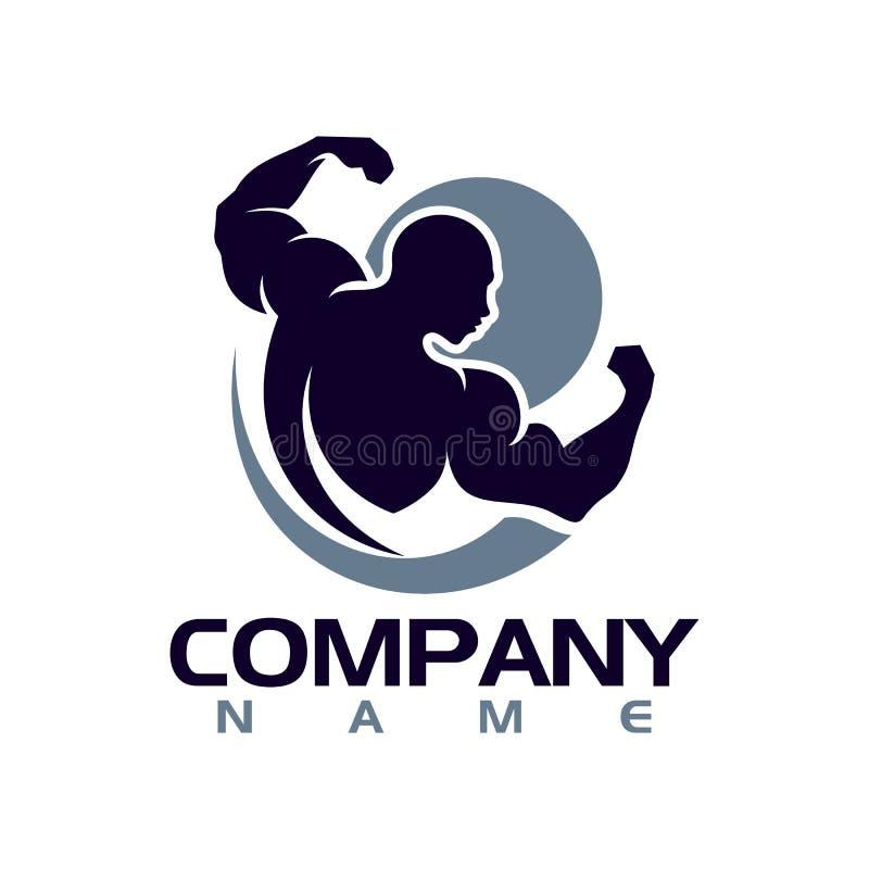 Bodybuilder Logo Template Vectorvoorwerp en Pictogrammen voor Sportetiket, Gymnastiekkenteken, Fitness Logo Design royalty-vrije illustratie