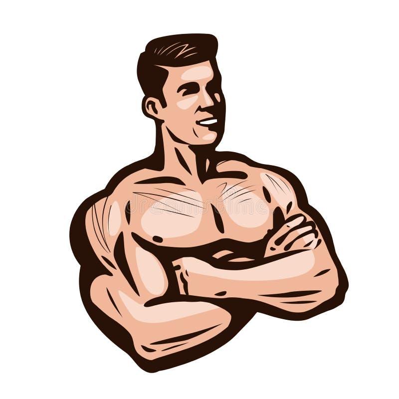 Bodybuilder mężczyzna, wektorowa ilustracja Gym, klubu sportowego logo royalty ilustracja