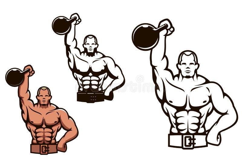 Bodybuilder mężczyzna z dumbbell ilustracji