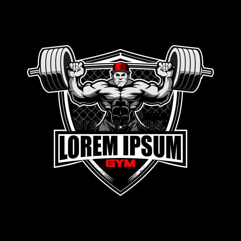 Bodybuilder mężczyzny charakter z barbell weightlifting odznaki logo wektorowym szablonem royalty ilustracja