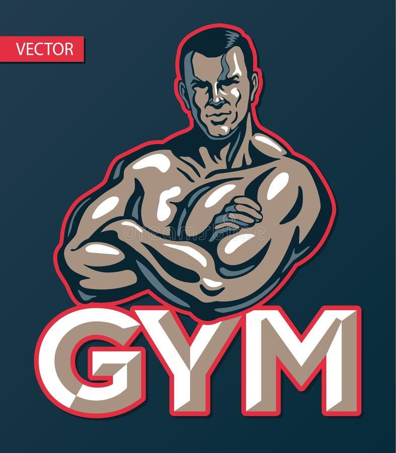 Bodybuilder mężczyzny pozować, gym sporta klubu logo projekta szablon, druk lub plakat, również zwrócić corel ilustracji wektora ilustracji