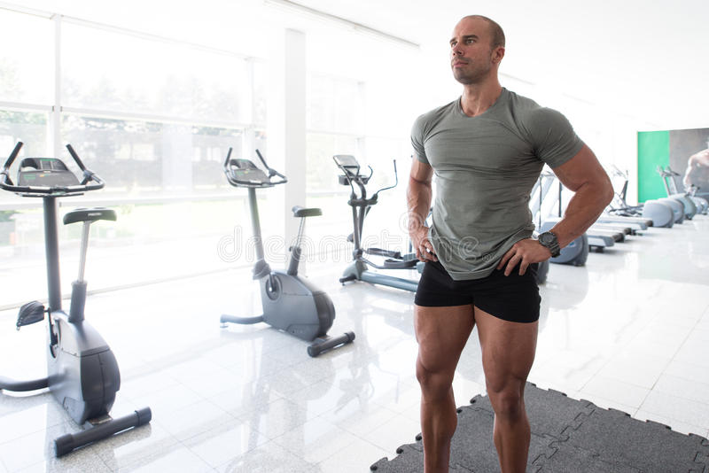 Bodybuilder Man Posing In The Gym. Bodybuilder Posing - Handsome Power Athletic Guy Male - Fitness Muscular Body royalty free stock image