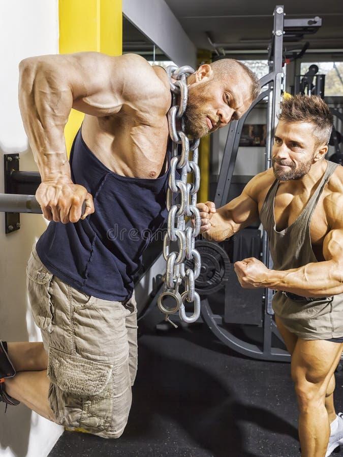 Bodybuilder masculin faisant des immersions avec des chaînes image stock