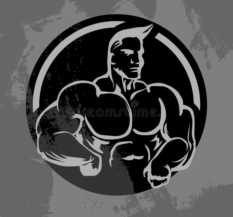 Bodybuilder maskotka ilustracji