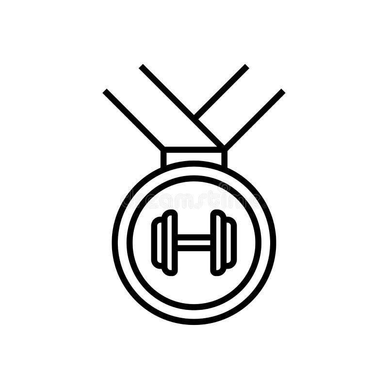 Bodybuilder medalu nagrody ikona z dumbbell symbolem dla bodybuilding turniejowej ilustracji prosta monoline grafika ilustracji