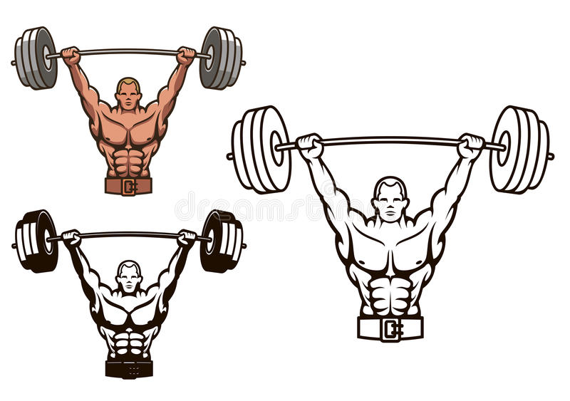 Bodybuilder met barbell stock illustratie
