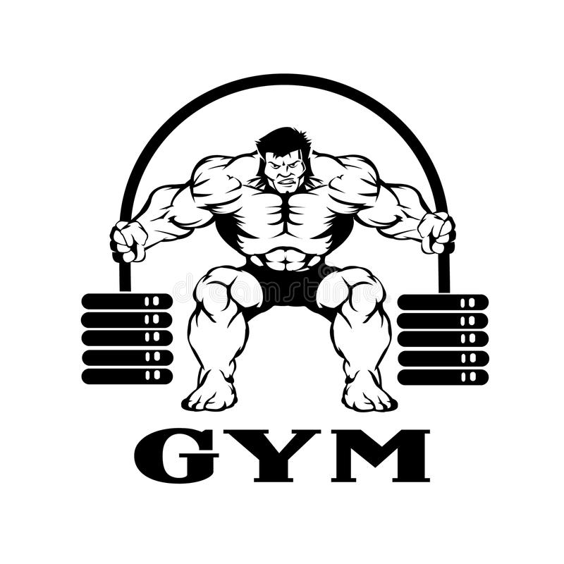 Bodybuilder met barbell stock illustratie