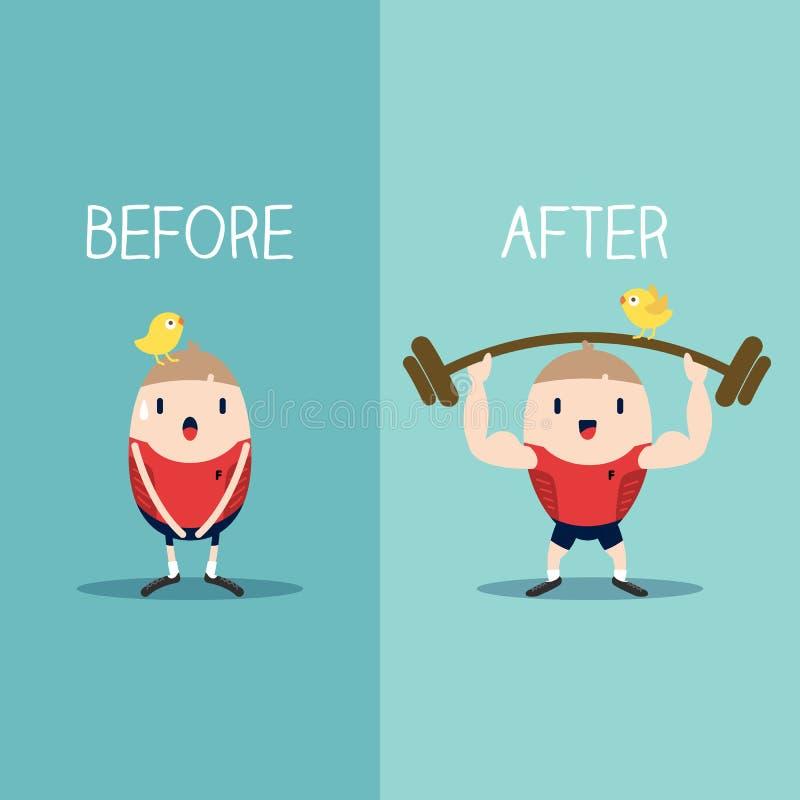 Bodybuilder met barbell before and after illustratie stock illustratie