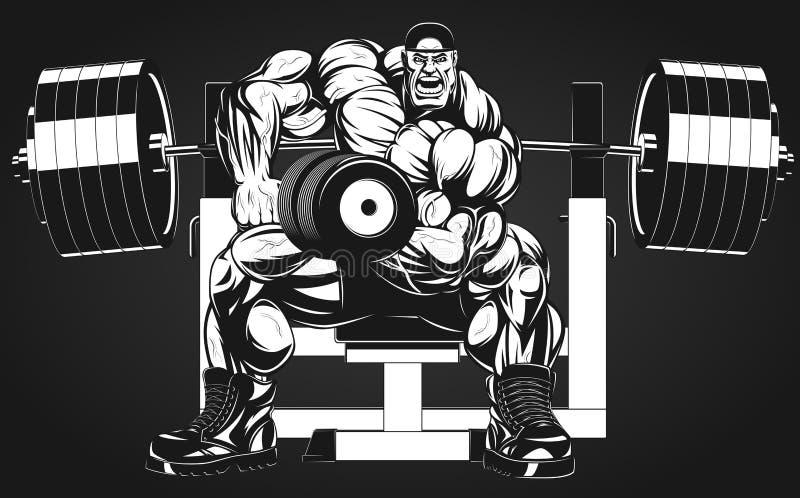 Bodybuilder met domoor vector illustratie