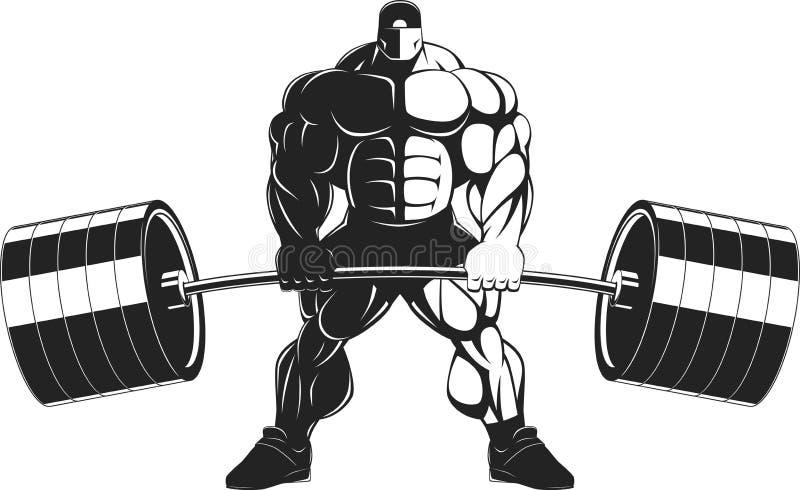 Bodybuilder met een barbell royalty-vrije illustratie