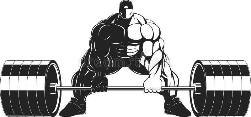 Bodybuilder met een barbell stock illustratie