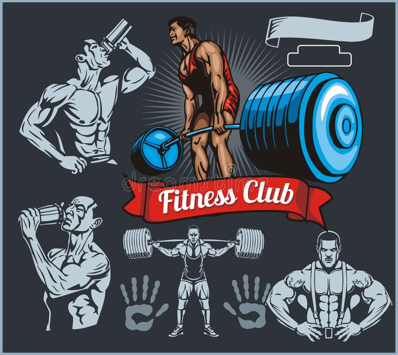 Bodybuilder met een barbell - vectorreeks stock illustratie