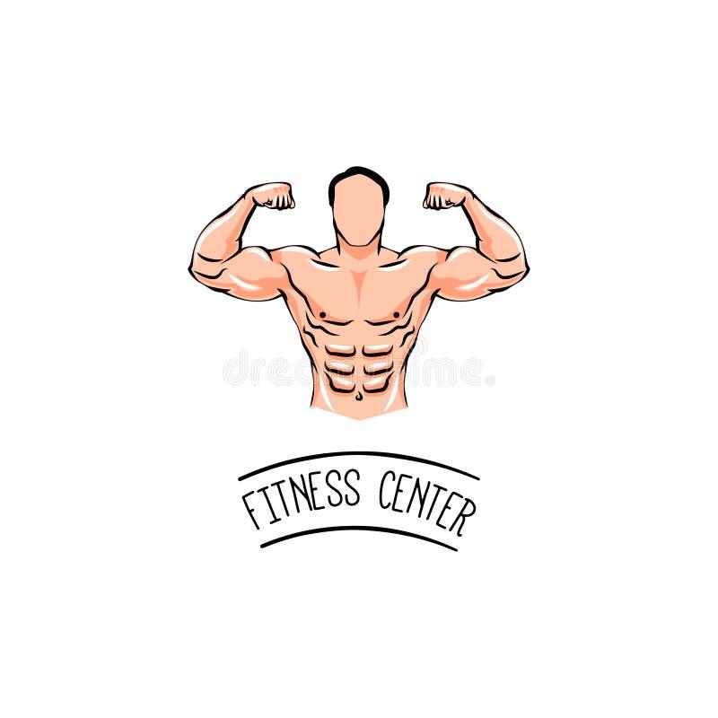 Bodybuilder met een snor Mens met spieren Fietsen en ander geschiktheidsmateriaal in gymnastiek Vector illustratie royalty-vrije illustratie