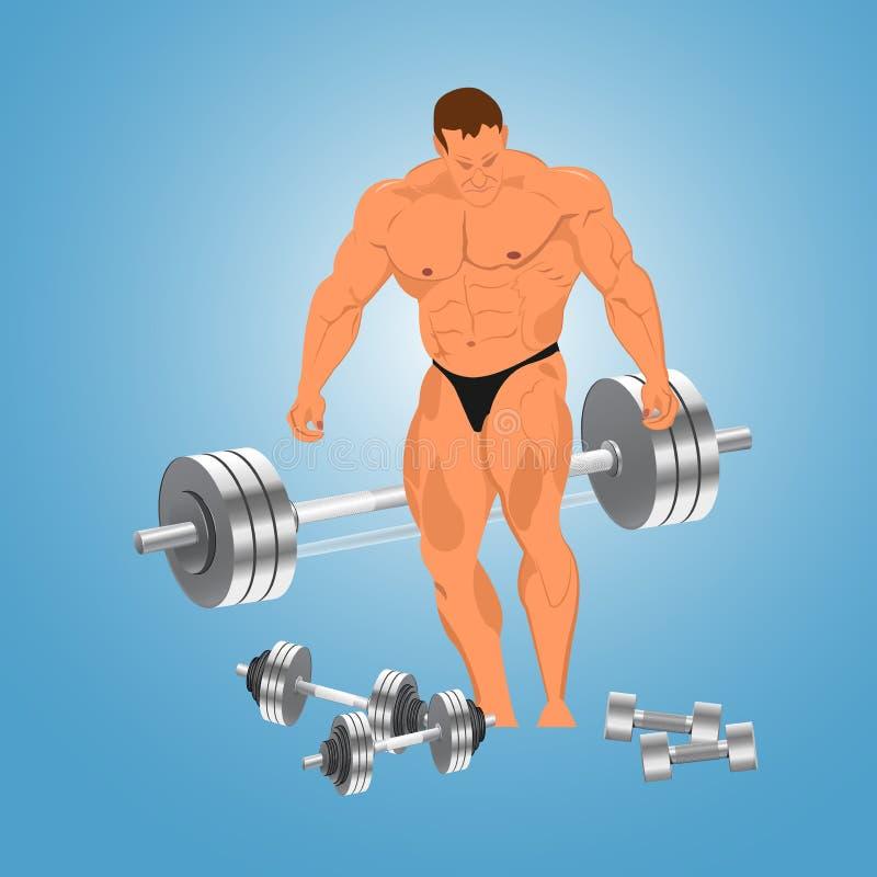 Bodybuilder met gewichten, vectorillustratie vector illustratie