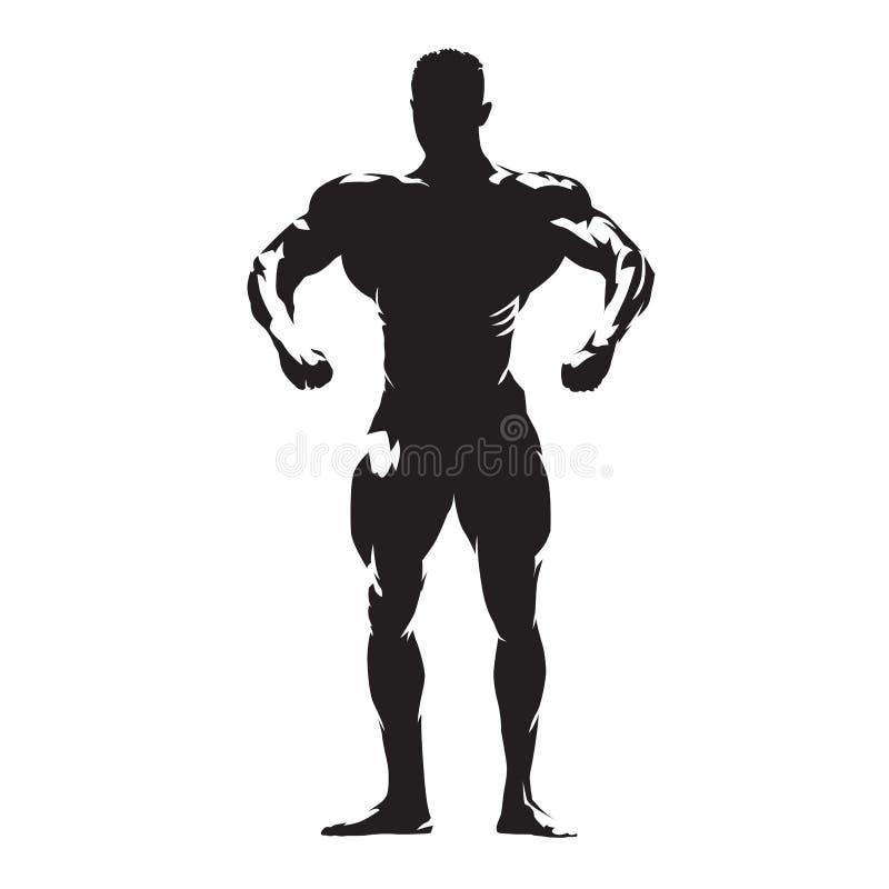 Bodybuilder met grote spieren die, geïsoleerd vectorsilhouet stellen stock illustratie