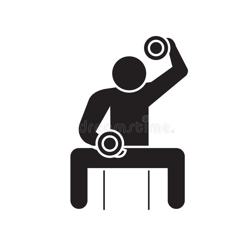 Bodybuilder mienia dumbell czerni pojęcia wektorowa ikona Bodybuilder mienia dumbell płaska ilustracja, znak ilustracji