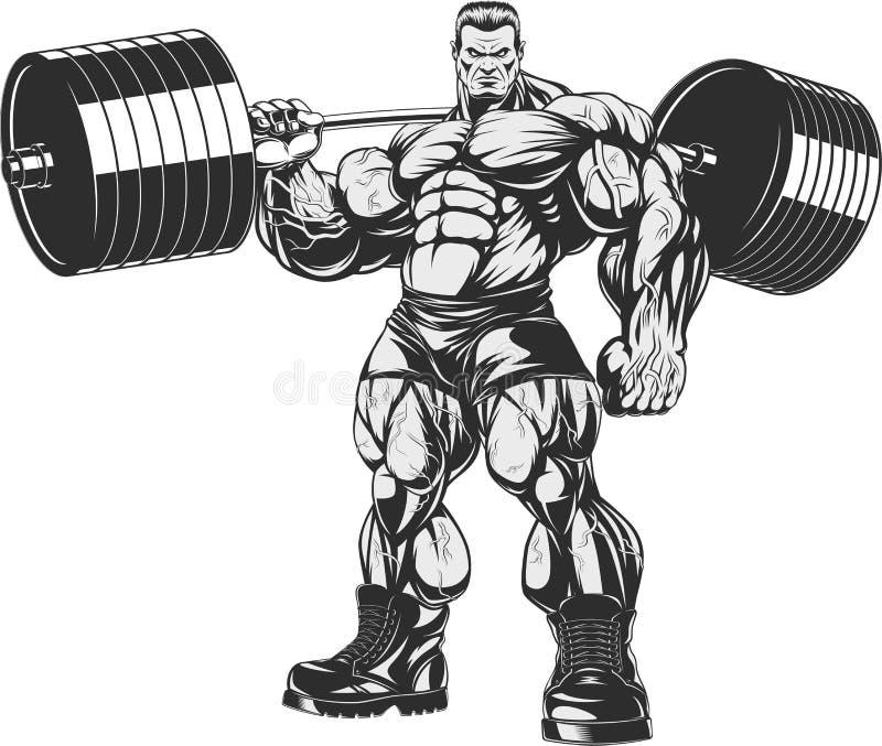 Bodybuilder mit Barbell vektor abbildung