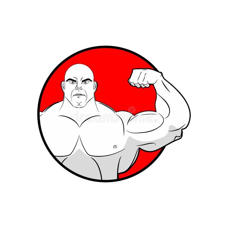 Bodybuilder mit den großen Muskeln Emblemturnhalle Logo für Mannschaftssport an vektor abbildung