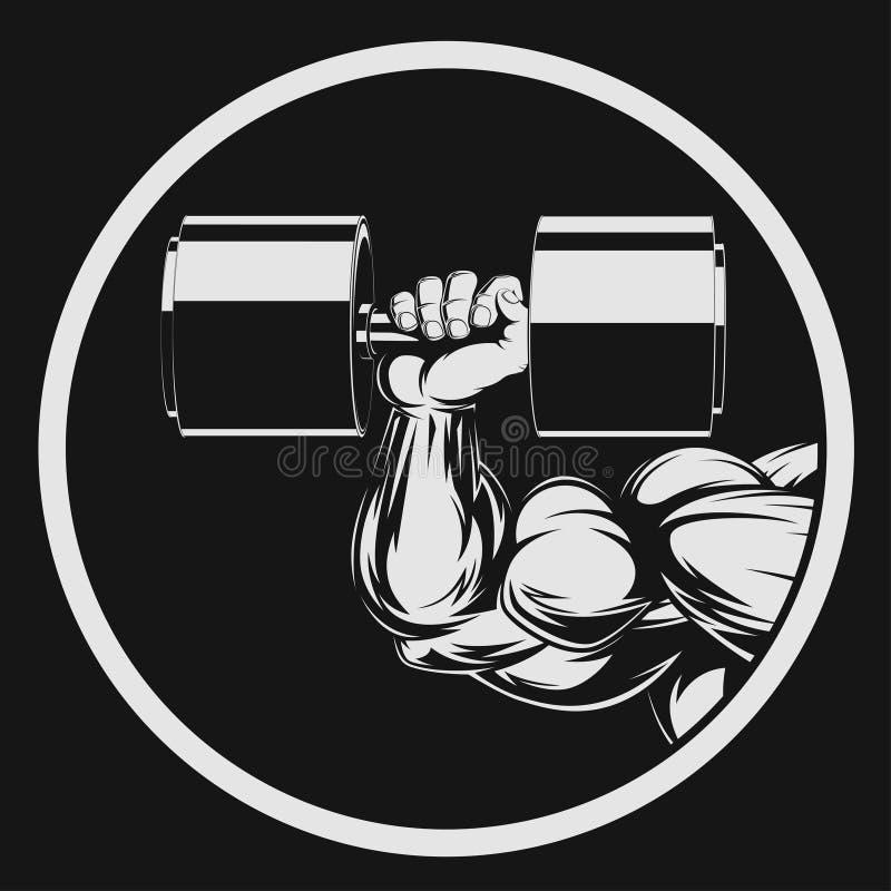 Bodybuilder mit Dummkopf vektor abbildung