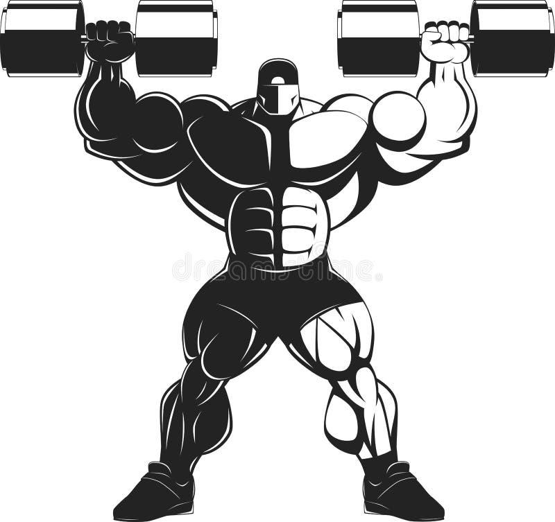 Bodybuilder mit Dummkopf stock abbildung