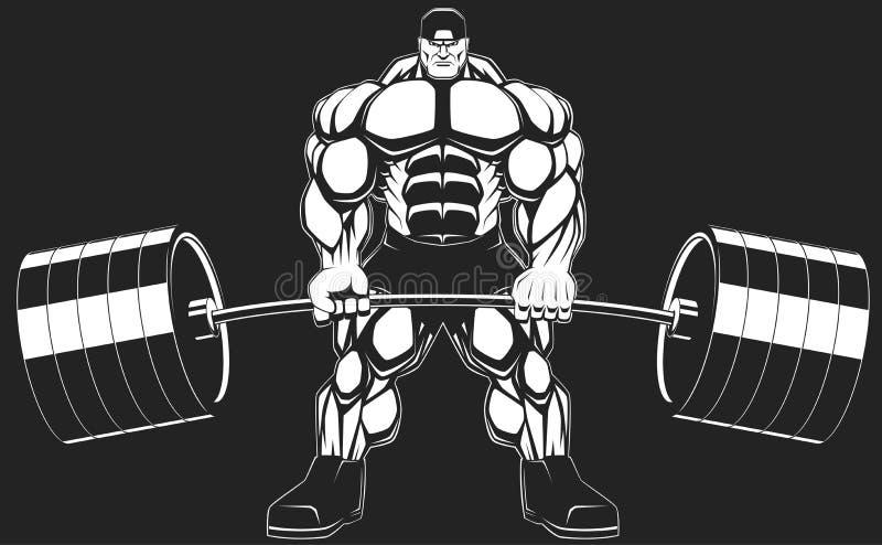 Bodybuilder mit einem Barbell lizenzfreie abbildung