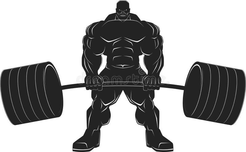 Bodybuilder mit einem Barbell stock abbildung