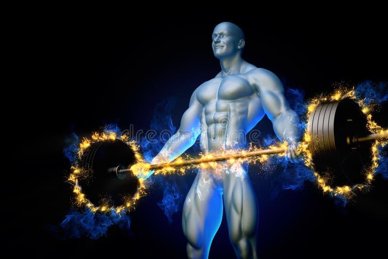 Bodybuilder mit einem brennenden Barbell stock abbildung