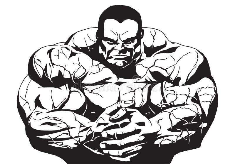 Bodybuilder muscular stock de ilustración