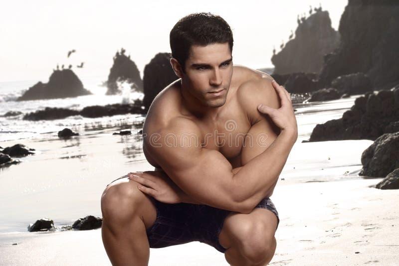 Bodybuilder na praia fotos de stock