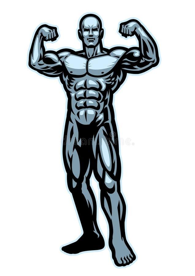Bodybuilder napina mięsień pozę ilustracja wektor