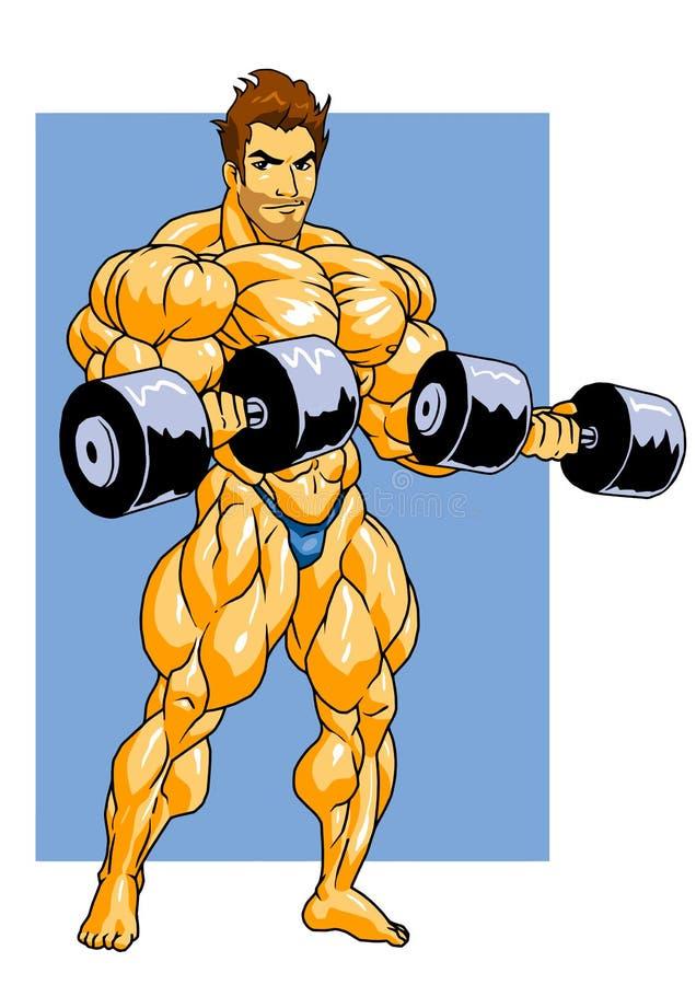 Bodybuilder opleiding met domoren vector illustratie