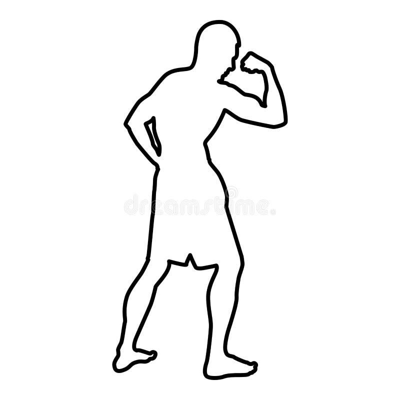 Bodybuilder pokazuje bicepsów mięśni sporta pojęcia Bodybuilding sylwetce bocznego widoku ikony czerni koloru ilustracji kontur royalty ilustracja