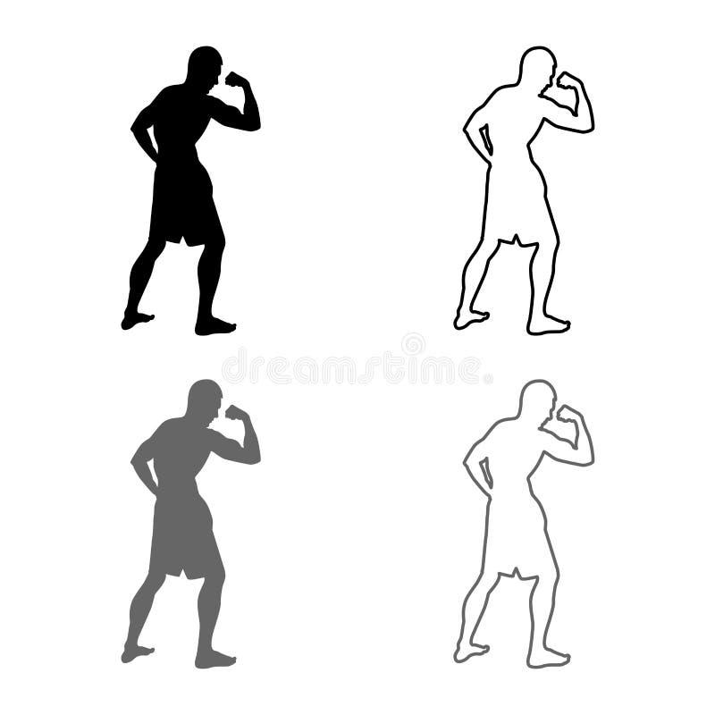 Bodybuilder pokazuje bicepsów mięśni sporta pojęcia Bodybuilding sylwetce bocznego widoku ikony set popielaty czarny kolor ilustr ilustracja wektor