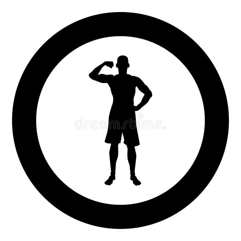 Bodybuilder pokazuje bicepsów mięśni sporta pojęcia Bodybuilding sylwetce frontowego widoku ikonę czerni kolor ilustrację w okręg royalty ilustracja