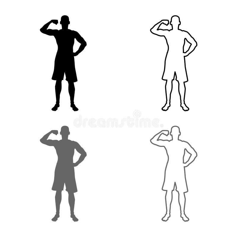 Bodybuilder pokazuje bicepsów mięśni sporta pojęcia Bodybuilding sylwetce frontowego widoku ikony set popielata czarna kolor ilus ilustracji